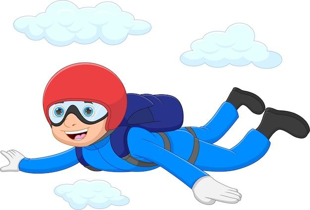 Веселый мальчик, наслаждающийся прыжками с парашютом, прыгает с самолета