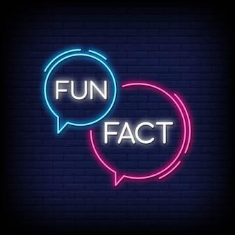 Fun факт неоновый знак вектор. факты дизайн шаблона неоновая вывеска