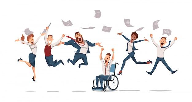 Счастливые офисные работники прыгать вверх. офис fun.