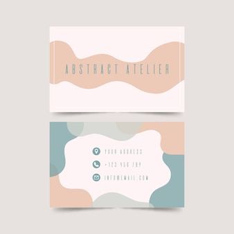Funabstract business card template with pastel-colored stainsny graphic designer business card template