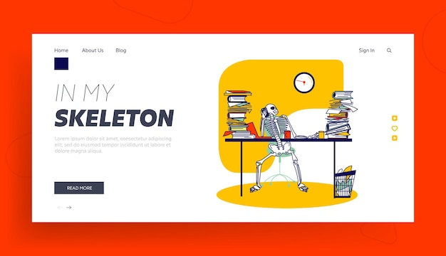 機能容量、勤勉なランディングページテンプレート。携帯電話で話している紙の文書の山とオフィスの机に座っているスケルトンの実業家のキャラクター。線形ベクトル図
