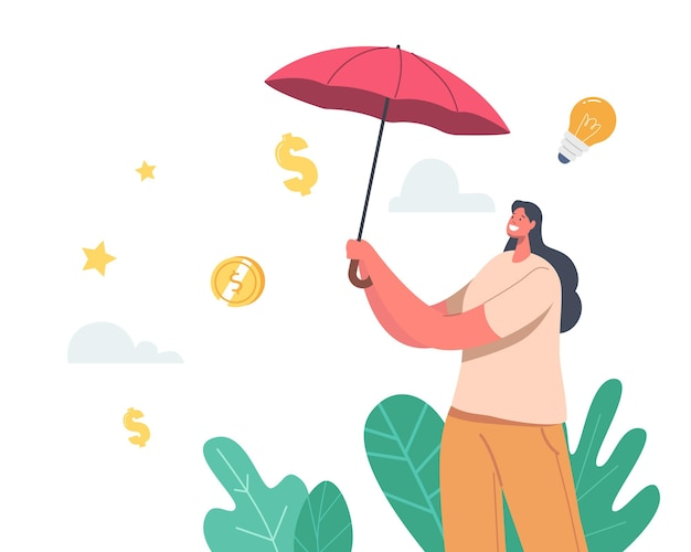 Fund safety concept. businesswoman character under umbrella protect money from financial crisis