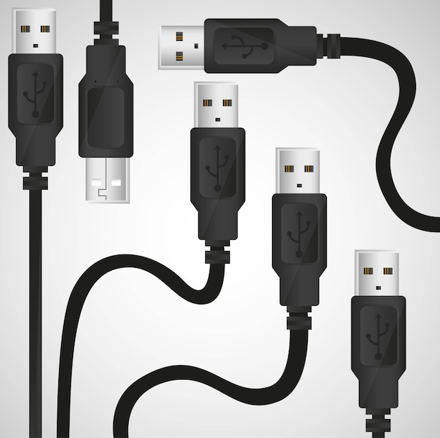 Fund usb cable pattern on gray