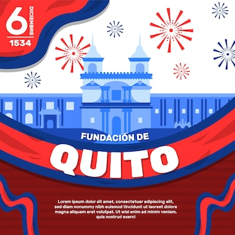 Fundacion de quito e fuochi d'artificio