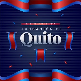 Fundacion de quito with red and blue flag illustration