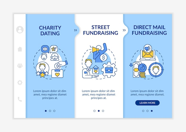 Fundraiser appeal for funds onboarding vector template. responsive mobile website with icons. web page walkthrough 3 step screens. direct mail fundraising color concept with linear illustrations