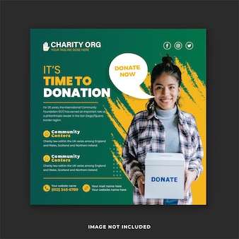 Fundraiser social media post template for charity benefit events