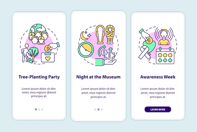 Fundraising campaign ideas onboarding mobile app page screen. tree-planting party walkthrough 3 steps graphic instructions with concepts. ui, ux, gui vector template with linear color illustrations