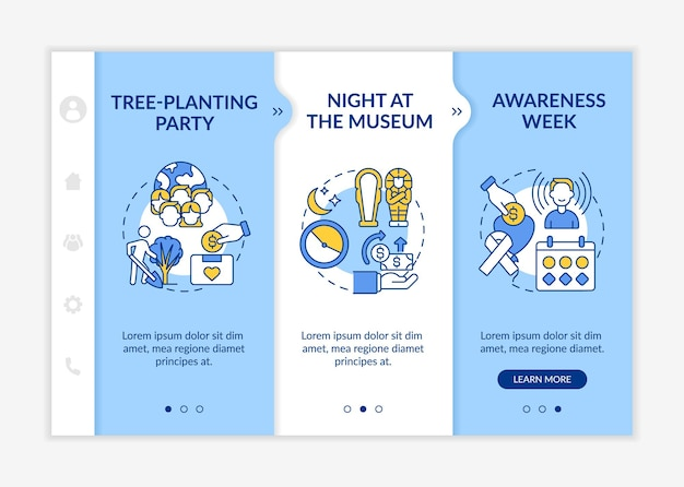 Fundraising campaign ideas onboarding vector template. responsive mobile website with icons. web page walkthrough 3 step screens. tree-planting party color concept with linear illustrations