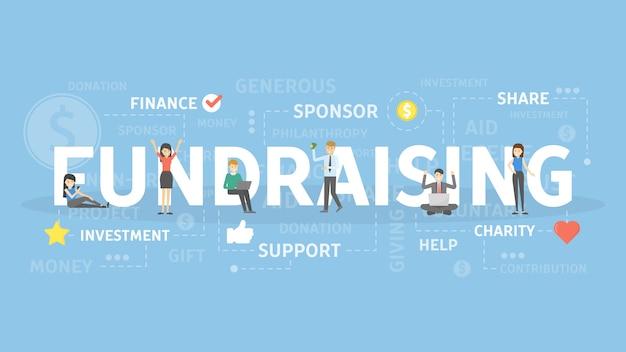 모금 개념 그림입니다. 지원, 투자 및 스폰서 아이디어.