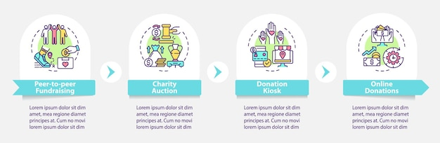 Fundraising event ideas vector infographic template. charity auction presentation outline design elements. data visualization with 4 steps. process timeline info chart. workflow layout with line icons