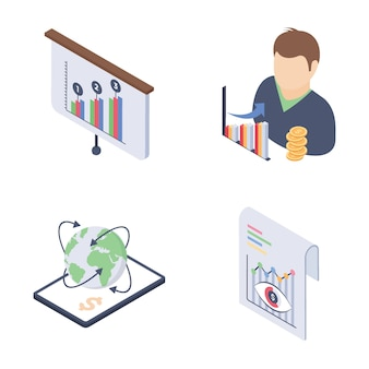 Fundraising and financial trends isometric vectors set