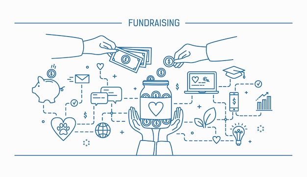 Fundraising. line art flat contour illustration.