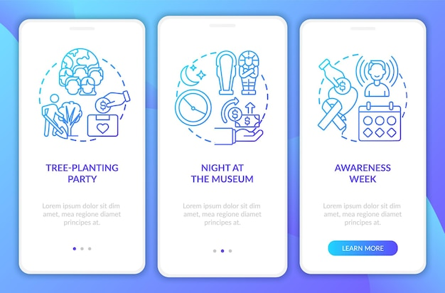 Fundraising methods onboarding mobile app page screen. environmental awareness walkthrough 3 steps graphic instructions with concepts. ui, ux, gui vector template with linear color illustrations