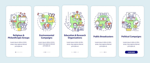 Fundraising types onboarding mobile app page screen. philanthropic groups walkthrough 5 steps graphic instructions with concepts. ui, ux, gui vector template with linear color illustrations