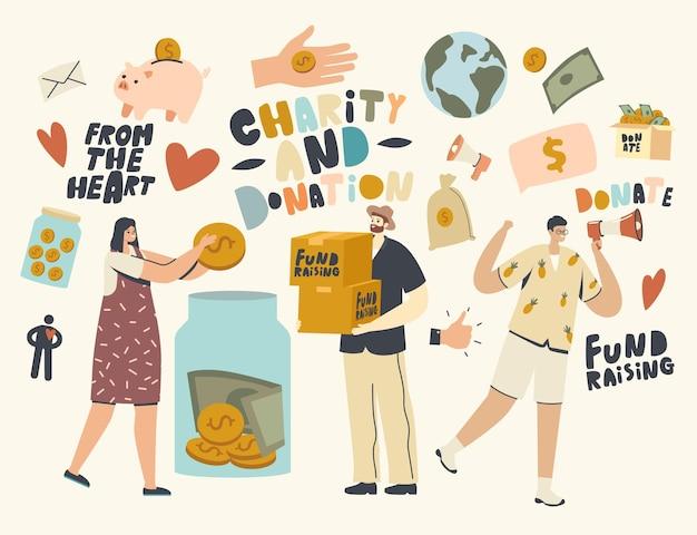 Сбор средств, волонтерство, благотворительная поддержка, персонажи-волонтеры, собирающие деньги в банке для пожертвований. помогите кампании по повышению осведомленности общества. сообщество щедрых людей делает пожертвование. линейные векторные иллюстрации