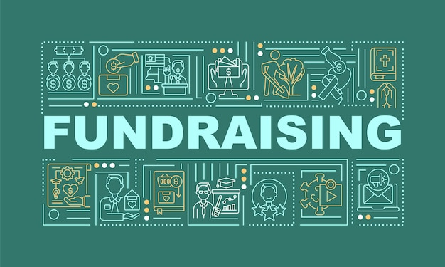 Fundraising word concepts banner. fund increasing strategy. infographics with linear icons on green background. isolated creative typography. vector outline color illustration with text Premium Vector
