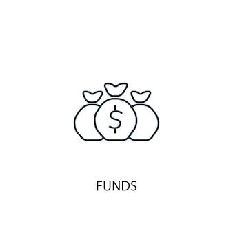 ファンドのコンセプトラインアイコン。シンプルな要素のイラスト。ファンドコンセプト概要シンボルデザイン。 webおよびモバイルui / uxに使用できます
