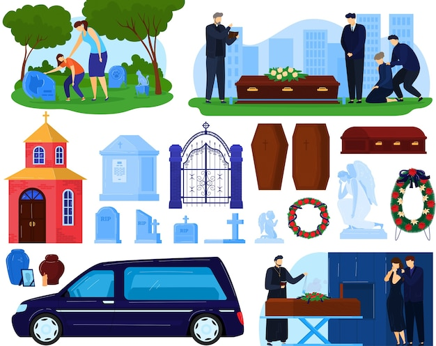 Funeral burial cemetery death ceremony vector illustration set, cartoon flat sad people, ceremonial hearse car near coffin with dead