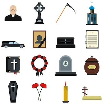 Funeral and burial flat elements set isolated