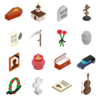 Funeral and burial isometric 3d icons set