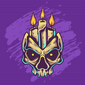Funeral candle inside the skull
