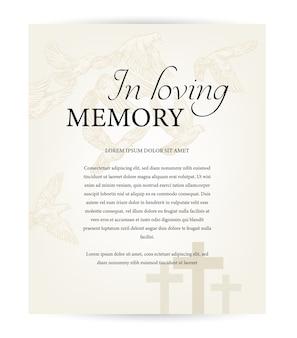 葬儀カードのテンプレート、愛情のこもった記憶のタイポグラフィを備えたヴィンテージのお悔やみの死亡記事、墓地のキリスト教の十字架、墓地の上を飛ぶ鳩。死亡記事の記念碑、葬儀カード、ネクロログ