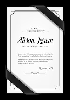 Funeral card  template with black frame, mourning ribbons in corners, place for name, birth and death dates. obituary memorial, condolence funeral card , in loving memory typography