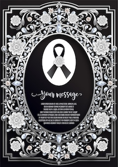 Funeral card template with black ribbon and white flowers