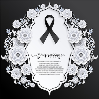 Funeral card template with ribbon sign