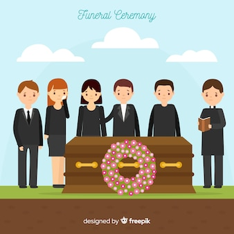 Funeral composition with flat design