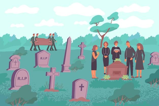 石の墓と木製の永遠の箱のイラストを運ぶ人間のキャラクターと墓地の風景と葬儀フラット構成