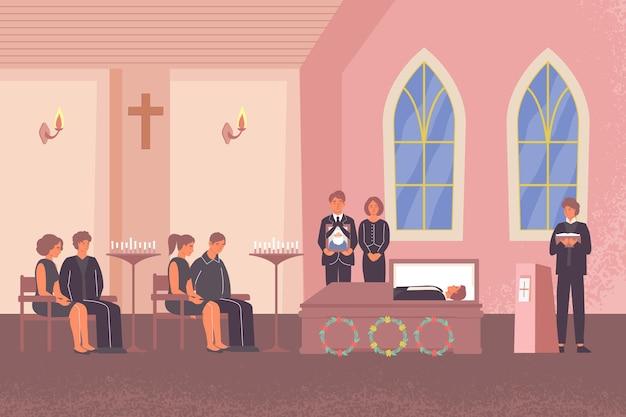실내 교회 풍경과 고인의 친구 일러스트를위한 장례식을 수행하는 목사와 장례식 평면 구성