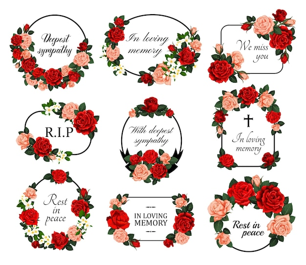 Funeral frames with mourning, sketch flowers