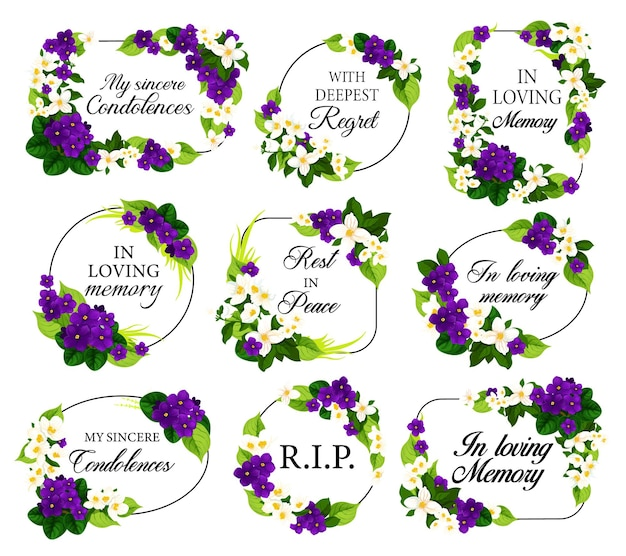 Funeral frames with mourning white and violet flowers