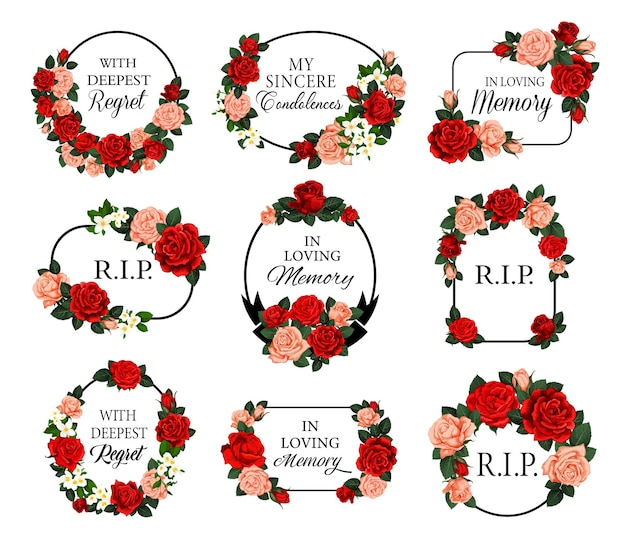 Funeral frames with red roses flowers and condolences