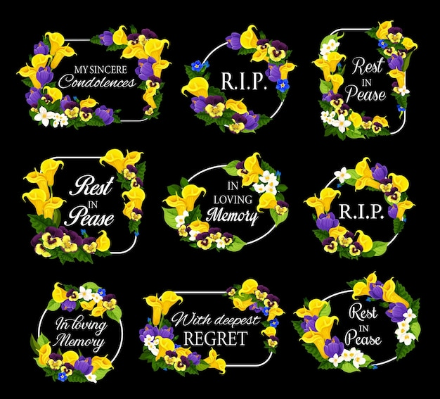 Funeral frames with spring flowers wreath
