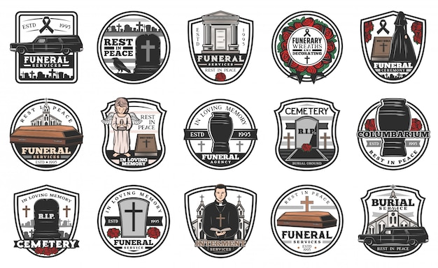 Funeral and funerary service  icons