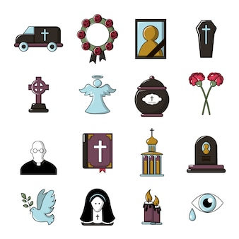 Funeral ritual service icons set