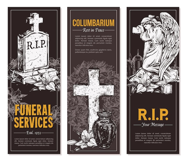 Funeral service  hand drawn design of banners set