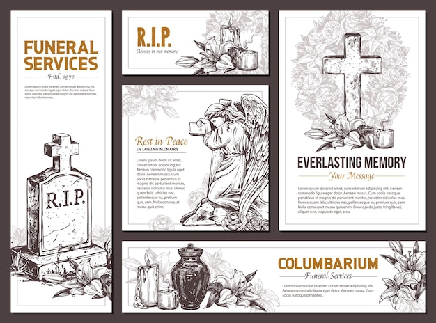 장례식 서비스 손으로 그린 디자인 배너, 애도 배너 세트 스케치 그림