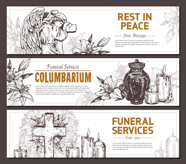Funeral service  hand drawn design of horizontal banners set