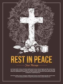 Funeral service hand drawn rip massage card illustration