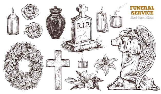 Funeral service  hand drawn set. attributes and symbols of condolence