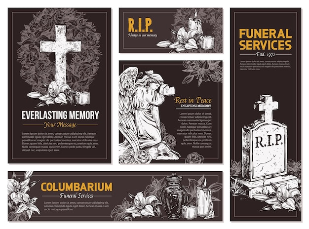 Funeral service  hand drawn set of banners set