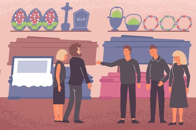 永遠の箱の墓と花輪のイラストと埋葬店の屋内ビューと葬儀場の構成