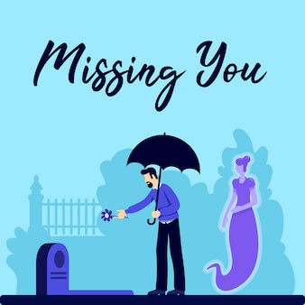 Funeral social media post mockup. missing you phrase. web banner design template. family member loss. booster, content layout with inscription. poster, print ads and flat illustration