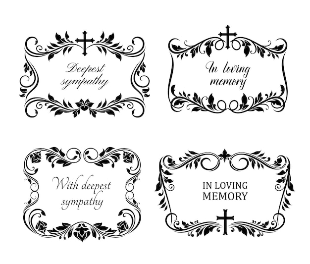 Funeral sorrowful borders or necrology templates set