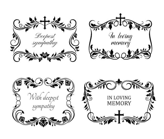 장례식 슬픈 테두리 또는 괴사 템플릿 세트
