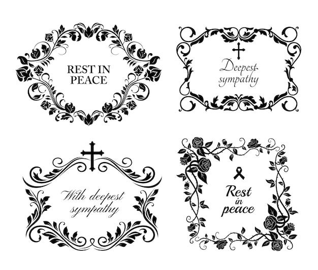 Funeral wreath cards of flowers, obituary rip and condolences, black floral frames. funeral memory and deepest sympathy message